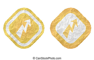 two frames with texture crumpled paper and flash