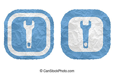 two frames with texture crumpled paper and spanner