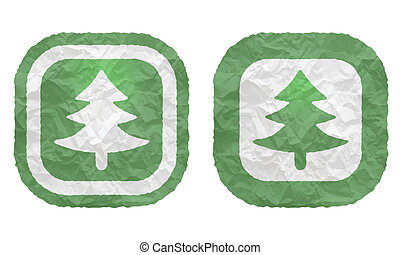 two frames with texture crumpled paper and tree