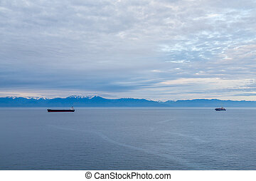 Two Freighters in Blue Canadian Dawn