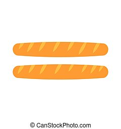 Two french baguettes icon, flat style