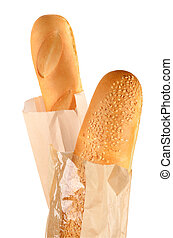 Two French Baguettes in paper bags isolated on white
