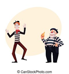 Two French mimes, young and old, in traditional costumes