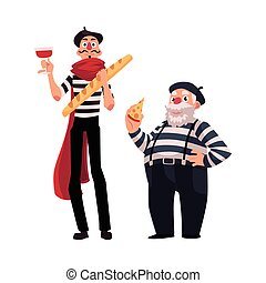 Two French mimes, young and old with symbols of France