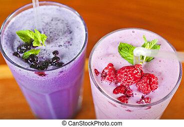 Two fresh fruit smoothies