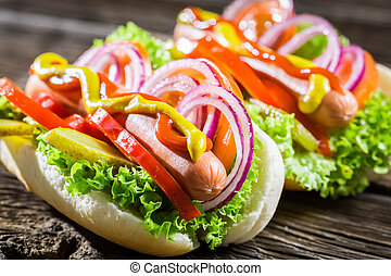 Two fresh homemade hot dog