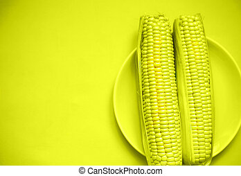 two fresh juicy illuminating local corn on a plate. pantone color 2021