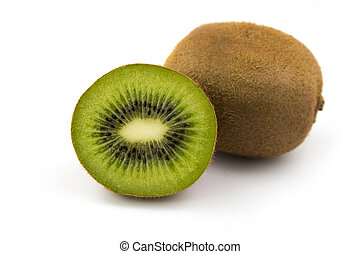 Two fresh kiwi fruits isolated on white background