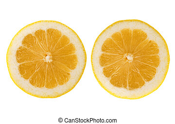 Two fresh lemon halves