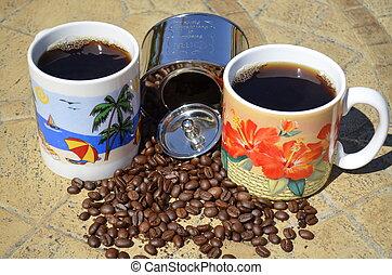 Two fresh mugs of coffee