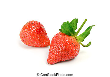 two fresh red strawberries with leaves