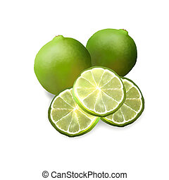 Two Fresh Ripe Limes and Limes Slic - Hand Drawing of Green...
