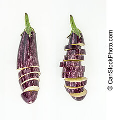 Two fresh sliced purple eggplants , isolated on white background