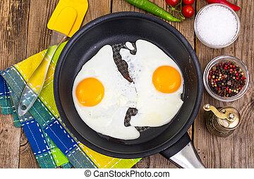 Two fried eggs for breakfast in frying pan