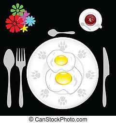 two fried eggs for breakfast vector illustration