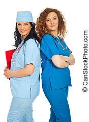 Two friendly doctors women