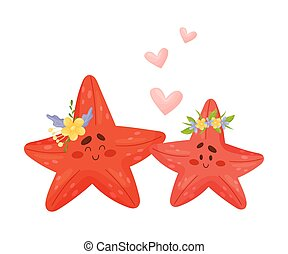Two Friends Baby Starfish Vector Illustration Cartoon Character