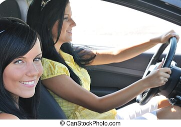 Two friends driving in car