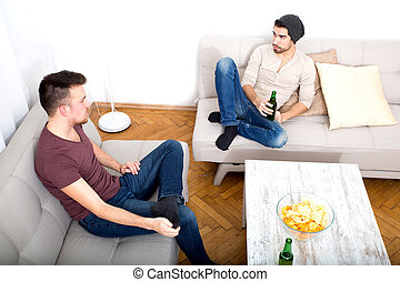 Two Friends having a conversation in the living room