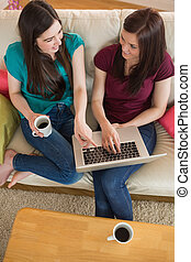 Two friends having coffee on the couch and using laptop at...