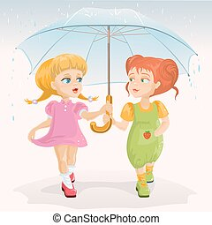 Two friends holding umbrella