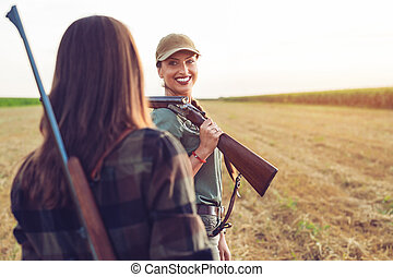 Two friends hunting watching wild.
