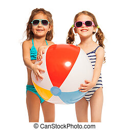 Two friends in sunglasses holding big wind-ball