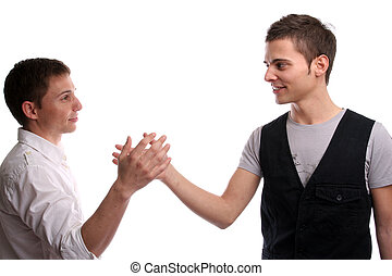 Two friends shaking hands, isolated in white background