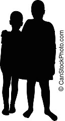 two friends silhouette