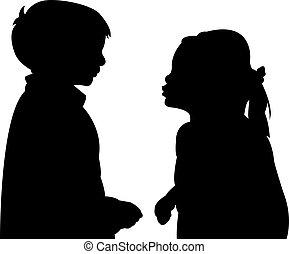two friends talking, silhouette