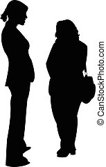 two friends together, silhouette