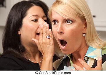 Friends Whispering Secrets - Two Friends Whispering Secrets...