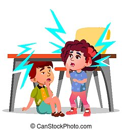 Two Frightened Kids Sitting Under The Table During Earthquake Vector. Isolated Illustration