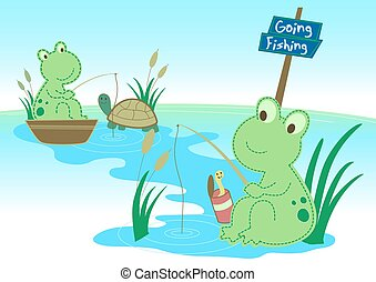 Two frogs fishing in a pond