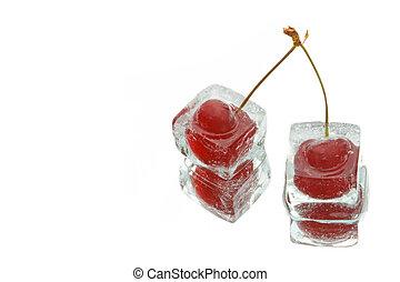 two frozen cherries