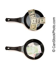 Two frying pans with dollar and euro bills top view isolated
