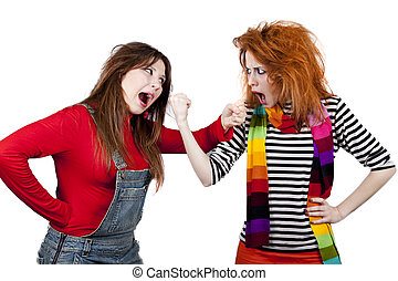 Two funny angry girls.
