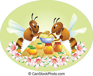 Two funny bees