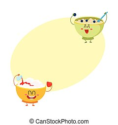 Two funny bowl characters - cottage cheese, oatmeal porridge, breakfast options