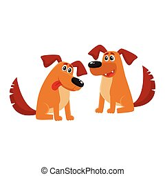 Two funny brown dog characters sitting friendly