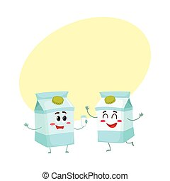 Two funny carton box character, one offering milk to another