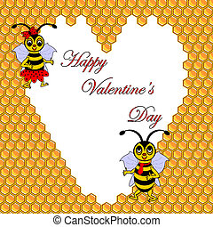 Two funny cartoon bees with a heart surrounded by honeycombs. Valentine's day postcard. Vector-art illustration