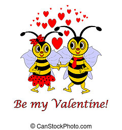 "Two funny cartoon bees with words ""Be my Valentine"". Valentine's Day postcard. Vector-art illustration on a white background"