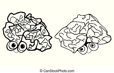Two funny, cartoon, human brain, isolated on white background.