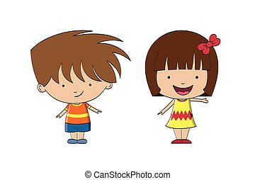Two funny cartoon kids