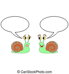 Two funny cartoon snails with talk bubbles. Vector-art illustration on a white background