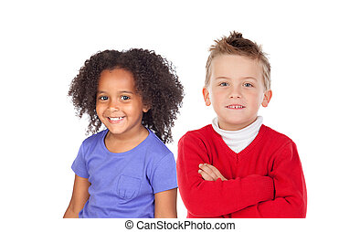 Two funny children looking at camera
