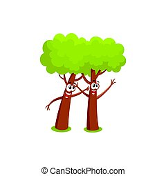 Two funny comic style tree characters playing with each other