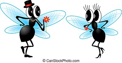 flies on a white background. Illustration, vector graphics