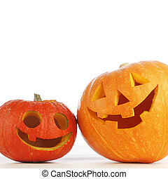 Halloween pumpkins - Two funny Halloween pumpkins on white ...